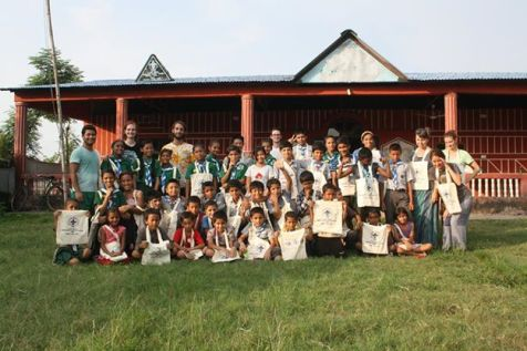 Scout troop with their bags